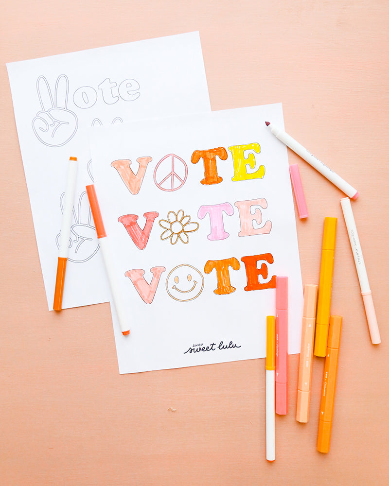 Voting Activities for Kids | 2020 Election | Get Out And Vote | Coloring Sheet | Free Printable | Shop Sweet Lulu