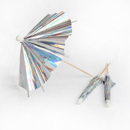 Holographic Silver Cocktail Umbrellas Longer Stick