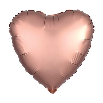 "18"" Satin Luxe Rose Copper Heart Foil Balloon"