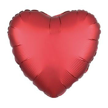"18"" Satin Luxe Sangria Red Heart Foil Balloon"