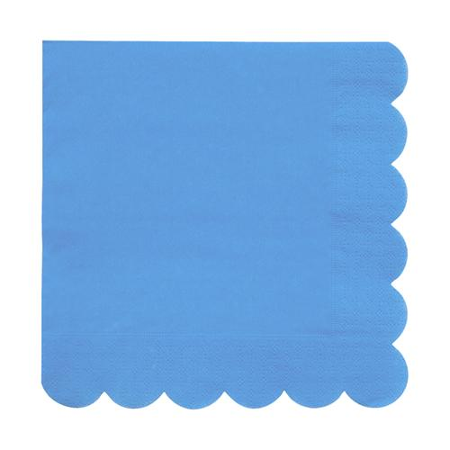 Large Bright Blue Scalloped Napkins
