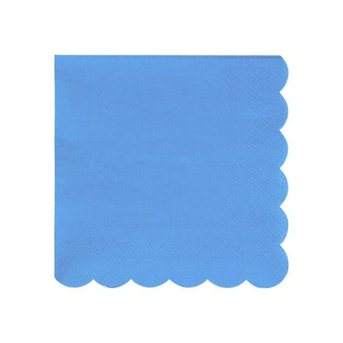 Small Bright Blue Scalloped Napkins