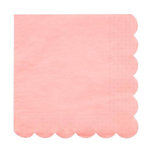 Large Neon Coral Scalloped Napkins