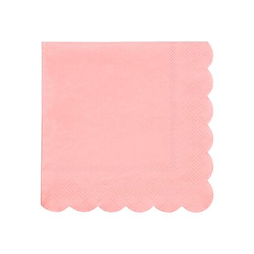 Small Neon Coral Scalloped Napkins