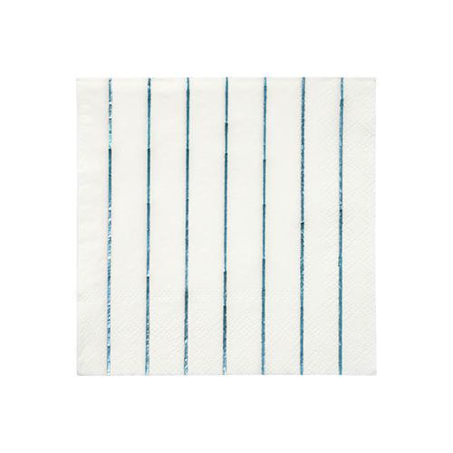 Blue Holographic Striped Small Napkins