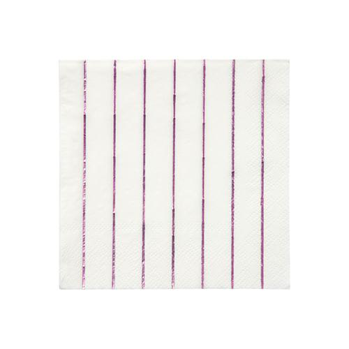 Small Pink Foil Striped Napkins