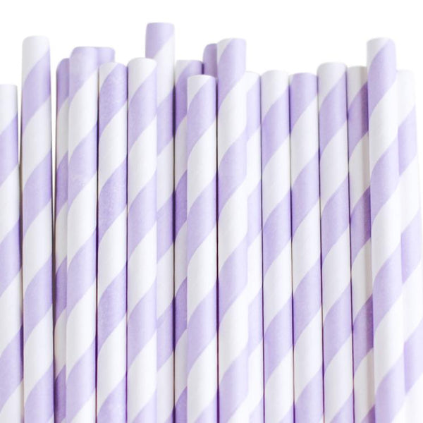 Eco Friendly Paper Straws: Soft Lilac Stripes