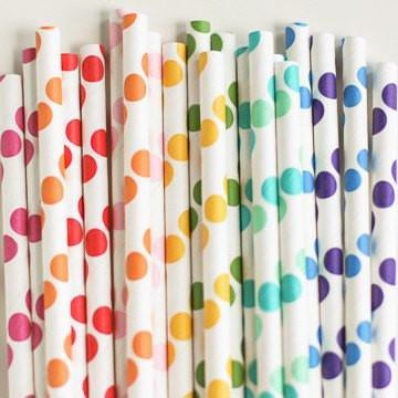 Paper Straws: Rainbow Dots Mix available at Shop Sweet Lulu
