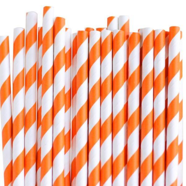 Eco Friendly Paper Straws: Juicy Orange Stripes