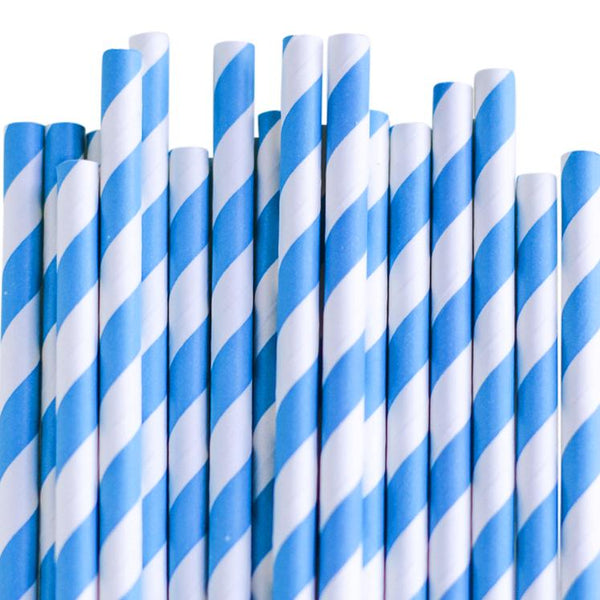 Eco Friendly Paper Straws: Bluebird Stripes