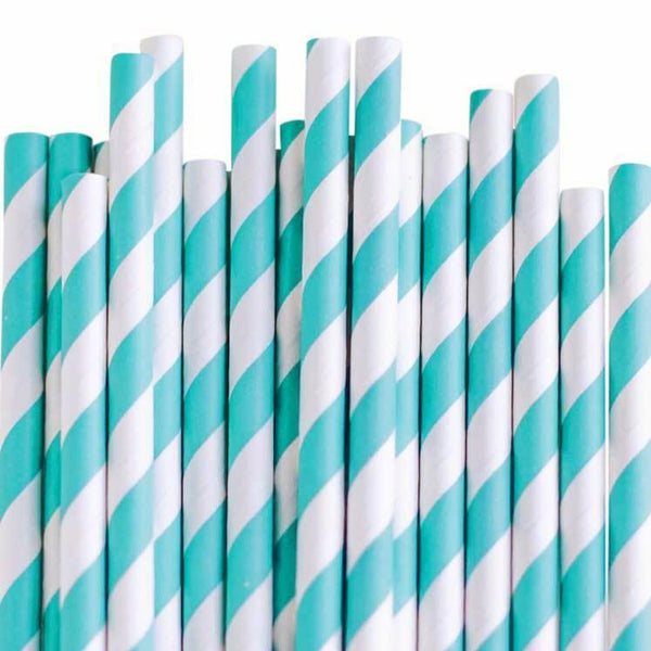 Eco Friendly Paper Straws: Teal Stripes