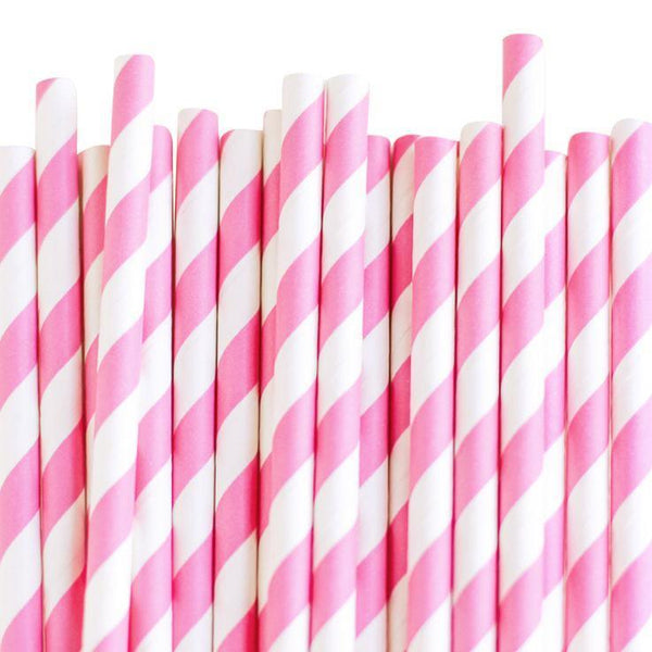 Eco Friendly Paper Straws: Rose Pink Stripes