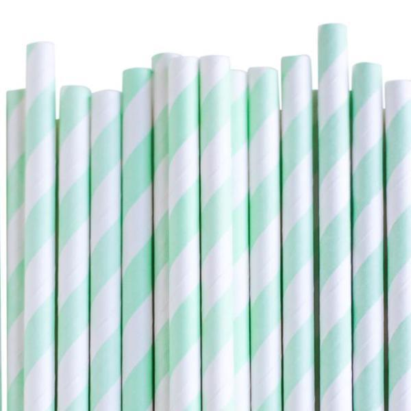 Eco Friendly Paper Straws: Mint Stripes