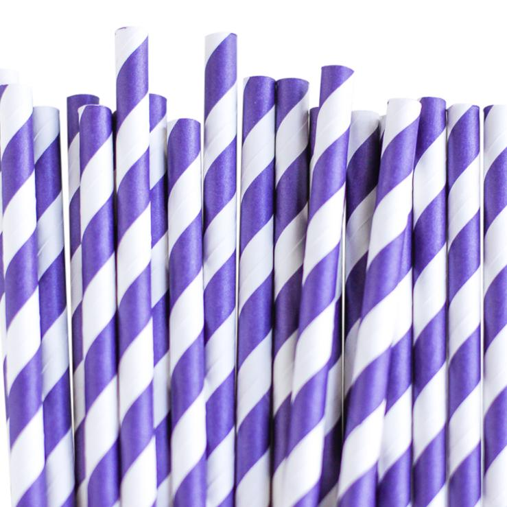 Eco Friendly Paper Straws: Violet Stripes