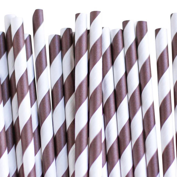 Eco Friendly Paper Straws: Chocolate Stripes