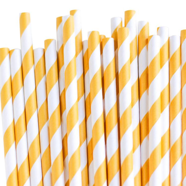 Eco Friendly Paper Straws: Sunflower Stripes