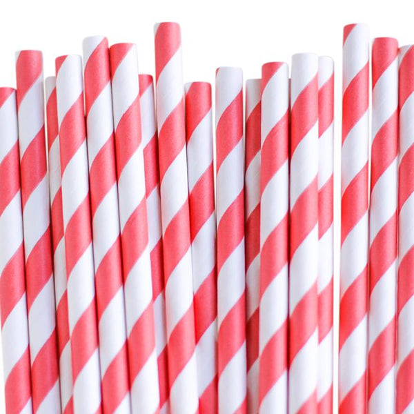 Eco Friendly Paper Straws: Coral Stripes