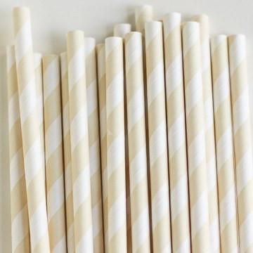 Eco Friendly Paper Straws: Cream Stripes available at Shop Sweet Lulu