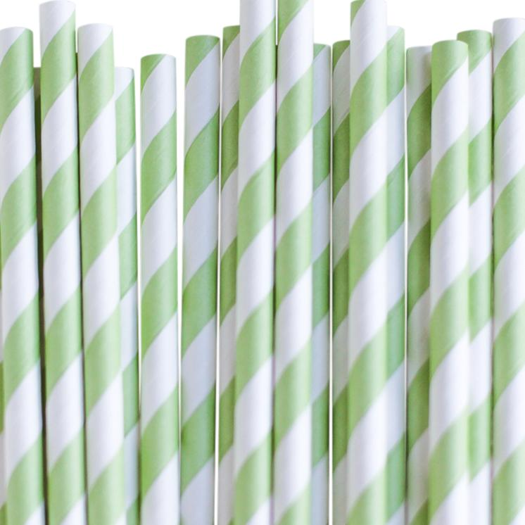 Eco Friendly Paper Straws: Apple Green Stripes