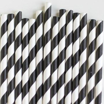 Paper Straws: Black Stripes