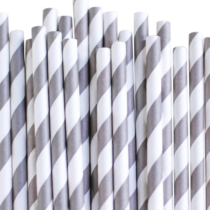 Eco Friendly Paper Straws: Baby Gray Stripes available at Shop Sweet Lulu