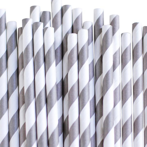 Eco Friendly Paper Straws: Dark Gray Stripes