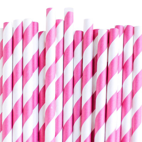 Eco Friendly Paper Straws: Wild Berry Stripes
