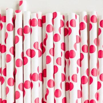 Paper Straws: Candy Apple Red Dots