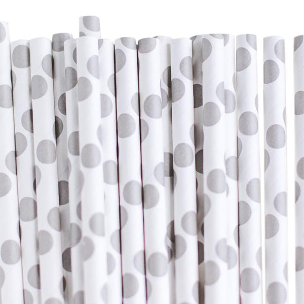 Eco Friendly Paper Straws: Baby Gray Dots