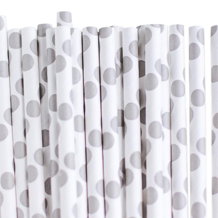 Eco Friendly Paper Straws: Baby Gray Dots available at Shop Sweet Lulu
