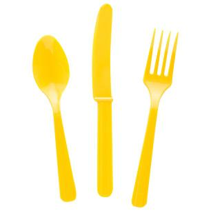Plastic Utensils 24ct - Sunshine Yellow