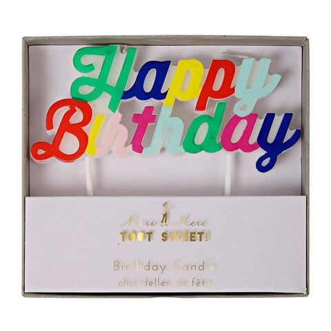 Toot Sweet Multi-Colored Happy Birthday Candle