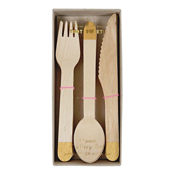 Wooden Cutlery Set - Gold available at Shop Sweet Lulu