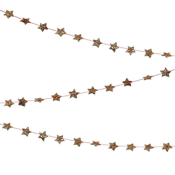 Gold Glitter Mini Star Garland available at Shop Sweet Lulu