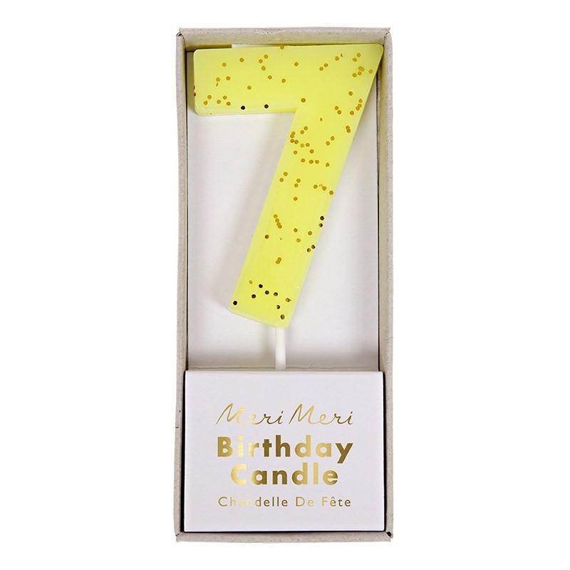 Yellow Number 7 Candle