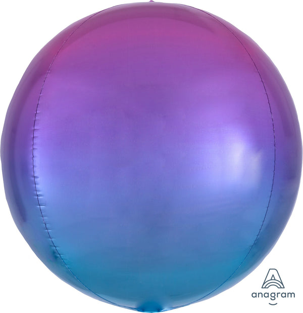 "16"" Ombre Magenta/Purple/Blue Mylar Balloon Orbz"