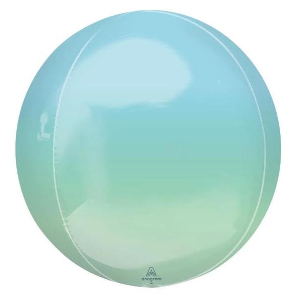 "16"" Ombre Blue/Green Mylar Balloon Orbz"
