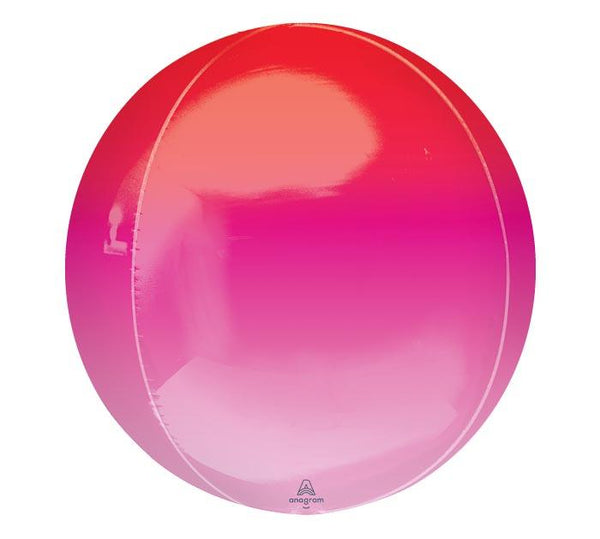 "16"" Ombre Red/Pink Mylar Balloon Orbz"