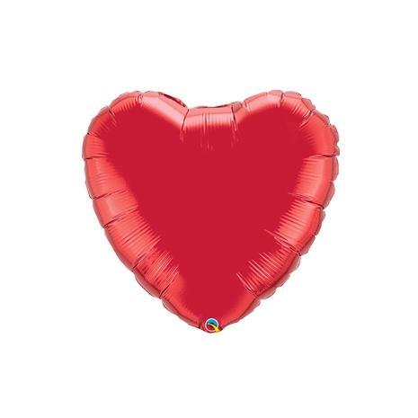 "9"" Ruby Red Foil Heart Balloon (AIR FILL & HEAT SEAL ONLY)"