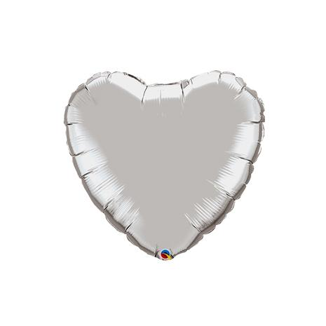 "9"" Silver Foil Heart Balloon (AIR FILL & HEAT SEAL ONLY)"
