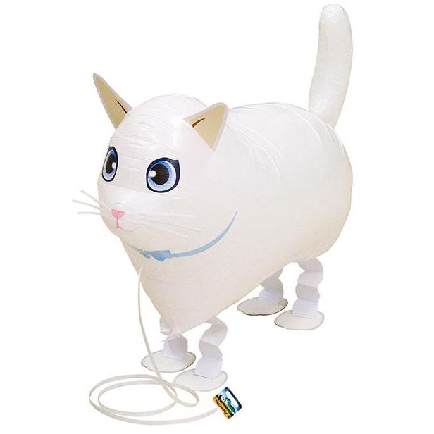 Air Walker Mylar Balloon Pet, White Cat