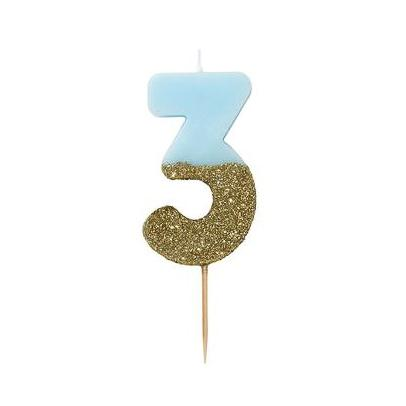 Blue Candle Dipped in Gold Glitter, 3