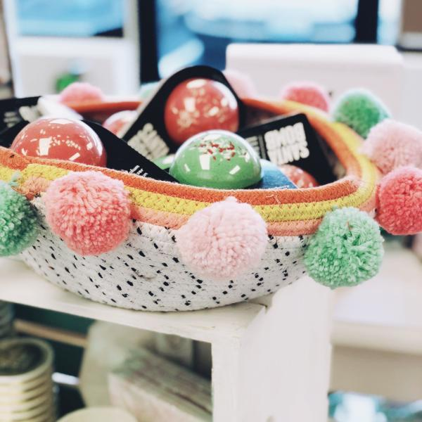 Cotton Pom Pom Basket (two styles available)