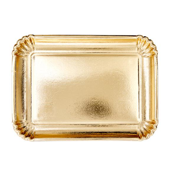 Large Rectangular Paper Serving Dishes - Gold