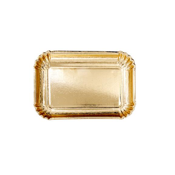 Small Rectangular Paper Serving Plates - Gold