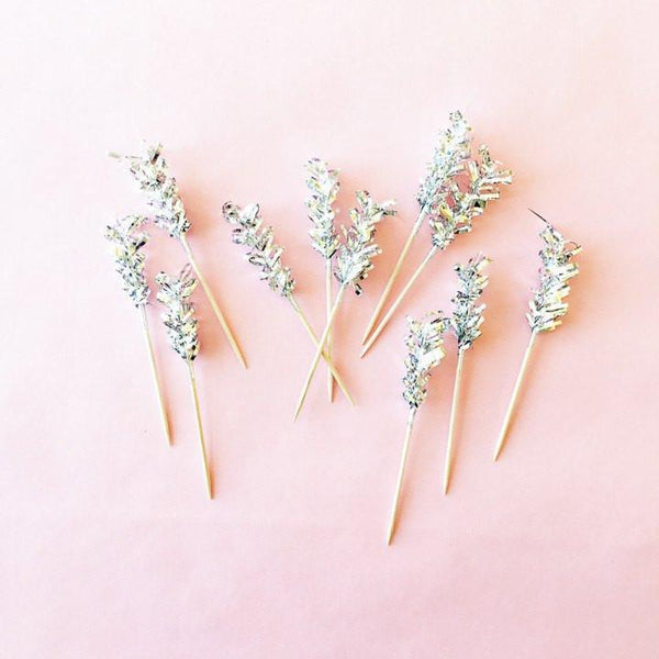 Fancy Frilly Wooden Picks, Silver available at Shop Sweet Lulu