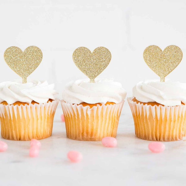 Heart Shaped Cupcake Toppers available at Shop Sweet Lulu