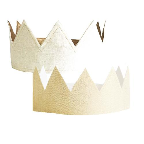 Fabric Crown - Ivory Linen & Gold