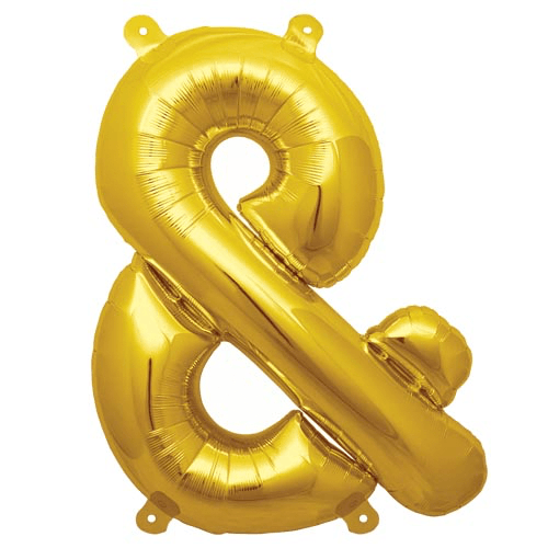 "13.5"" Gold Foil Ampersand Balloon available at Shop Sweet Lulu"