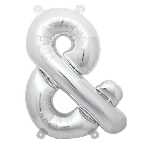 "13.5"" Silver Foil Ampersand Balloon available at Shop Sweet Lulu"